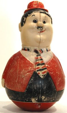 """RARE VTG OLIVER HARDY PLASTIC ROLY POLY TOY RED/BLACK 10"""" TALL 6"""" DIAMETER COOL!"""