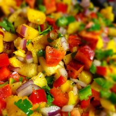 Spicy Peach, Pineapple & Mango Salsa with Jalapeno....SO. GOOD. Made as directed, but peeled peaches and used juice from 2 limes rather than 1 lime and 1 lemon. Served with tostitos scoops and grilled jerk chicken. Excellent when fresh, but leftover isn't as good.   cm