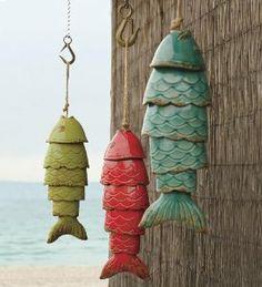 Amazon.com: Colored Porcelain Koi Fish Wind Chime, in Blue: Patio, Lawn & Garden