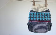 Handknitted Wool Soaker Diaper Cover With Upcycled Wool Doubler-Size:MEDIUM 6-12M