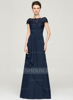 A-Line/Princess Off-the-Shoulder Floor-Length Chiffon Lace Mother of the Bride Dress With Cascading Ruffles (008062568) - JJsHouse