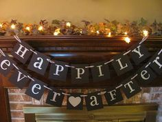 Wedding Banner Happily Ever After Sign Garland Black and Silver Reception Bridal Shower. $24.00, via Etsy.
