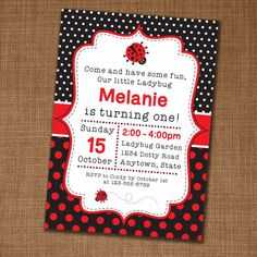 Ladybug Birthday Invitation Ladybug 1st Birthday Party Invitations