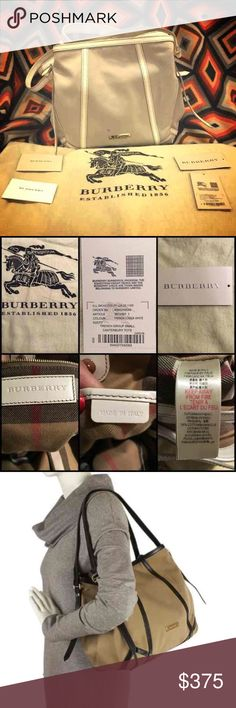 BURBERRY SMALL CANTERBURY TOTE 💯% Authentic PRICE IS FIRM. AUTHENTIC BURBERRY TRENCH GROUP SMALL CANTERBURY TOTE retail $1,490  Item tag included Burberry product care tag included Dust bag included   Used only a couple times but there are a few marks in the front of the purse. Inside is very clean - like new. Look at pictures closely. Burberry Bags Shoulder Bags