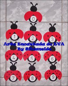Arte Encantada do EVA-By Silvaneide: Numerais de 0 a 9 joaninhas