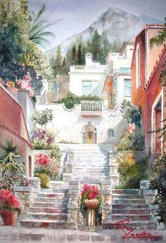 Taormina - Watercolor of Italy