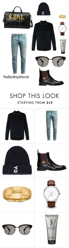 """street meets high fashion"" by thebestkeptsecret on Polyvore featuring A.P.C., Gucci, Y-3, Yves Saint Laurent, men's fashion and menswear"