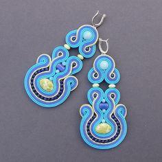 Earrings soutache Limone jasper and jade by BlueButterflybizu