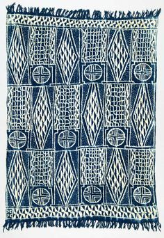 Africa | Wrapper ~ ndop or ntiesia, ntieya / Royal Cloth of Cameroon | from the Bamileke, Bamum people of Cameroon | ca. 20th century | Cotton, raffia; indigo dye.