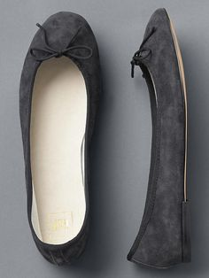 charcoal gray suede ballet flats
