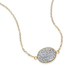 Gold Filled Necklace with Silver Druzy