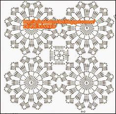 Crochet Bedspread Pattern, Crochet Snowflake Pattern, Crochet Baby Dress Pattern, Crochet Mandala Pattern, Crochet Flower Tutorial, Crochet Flower Patterns, Crochet Squares, Crochet Designs, Knitting Patterns