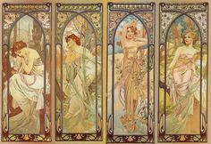 Alfons Mucha : The Times of the Day 1899- do this as photo series. Add wires to the frame I have to tie in flowers
