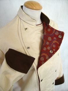 Canvas jacket - Belgian military chef's coat pattern.   Why did they use canvas?  A bottom weight fabric would have good.