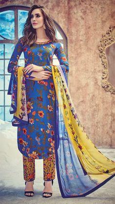 Cotton & Satin Patch Work Blue Floral Print Unstitched Pant Style Suit - 8527