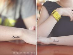 Tattoo of your childs name Tattoos by The Paper Mama ~ I like the simplicity of this, but after going so big with the first one, I don't think I could get away with it.