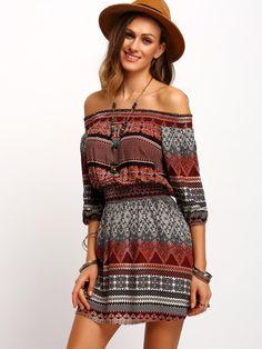Folk Print Off The Shoulder Dress