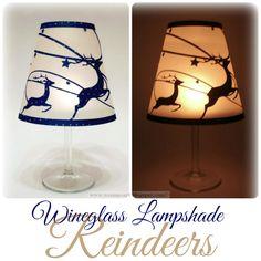 Wineglas Lampshade Reindeer free cutting files