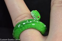 Green Tree Python Polymer Clay Snake Ring. Size by CustomExotics