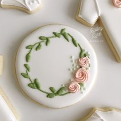 """Simple and sweet 💕""""She is clothed in strength and dignity and she laughs without fear of the future."""" Proverbs 31:25 Sweetest theme for a baby girl shower! Sugar Cookies Recipe, Cupcake Cookies, Flower Cookies, Valentine Cookies, Easter Cookies, Royal Icing Cookies, Iced Cookies, Cute Cookies, Brownie Cookies"""