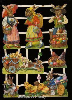 German Victorian Style Embossed Scrap Die Cut - Easter Bunny Chicks Eggs  EF7389