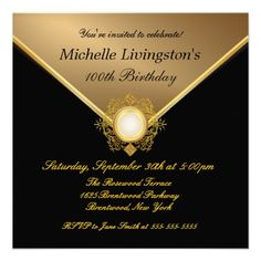 Elegant Gold Black Ladies Party Invitations 90th Birthday Invitation Templates