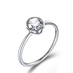 Bezel Set Oval Cut Diamond Ring in 14k White Gold | themarriedapp.com hearted <3