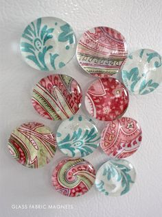 DIY - Glass Fabric or Scrapbook Paper Magnets Step-by-Step Tutorial using Glass Floral Gems + Mod Podge. These would make a pretty gift.