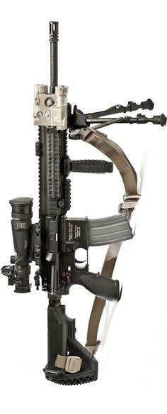USMC's M27 IAR.  Max 3000m area 800m point 600m / day squad optical (DSO) 3.5 zoom / pec-15