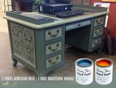 """Artworks Spokane: Mixit Monday Colors - This """"neutral"""" blue-green works well on the classic lines of this desk. www.artworksspokane.com/ascp_mixit_monday.htm"""