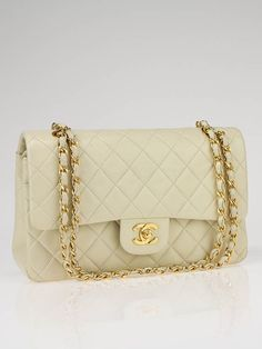 a girl can dream  Chanel Light Beige Quilted Lambskin Leather Medium Classic Double Flap Bag