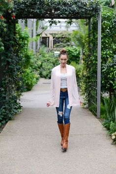 Spring Outfits You Can Wear with Tall Boots - Instinctively en Vogue; LOFT cardigan; Gucci belt; Hollister jeans; Sam Edelman boots