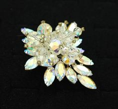 High Quality Large Vintage Brooch Crystal Bead by Girlzgonevintage