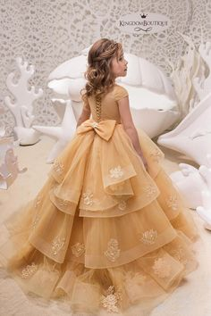 Gold Lace Tulle Belle Dress - Birthday Wedding party Bridesmaid Holiday Gold Tulle Lace Belle Dress - - Source by Gowns For Girls, Frocks For Girls, Little Girl Dresses, Girls Dresses, Flower Girl Dresses, Lace Flower Girls, The Dress, Baby Dress, Kids Gown