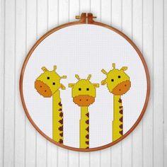 Funny & Cute - Ritacuna Funny Cross Stitch Patterns, Simple Cross Stitch, Cross Stitch Designs, Cross Stitching, Cross Stitch Embroidery, Embroidery Patterns, Everything Cross Stitch, Funny Giraffe, Etsy