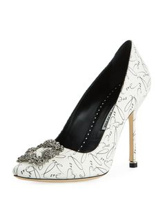 7e92e949927a Manolo Blahnik Hangisi 10th Anniversary Love Leather Pumps