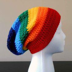 LGBT Gay Pride Rainbow Slouchy Beanie Adult by TheCrochetCauldron