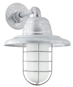 Industrial Guard Sconce, Warehouse Shade, CGG-Standard Cast Guard, FST-Frosted Glass Source by coastaljunk Vintage Wall Sconces, Rustic Wall Sconces, Wall Sconce Lighting, Barn Lighting, Exterior Lighting, Outdoor Lighting, Lighting Ideas, Barn Light Electric, Cage Light