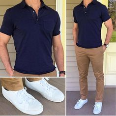 New Ideas Moda Masculina Casual Fashion Simple Polo Shirt Outfits, Polo Outfit, Chinos Men Outfit, Khaki Pants Outfit, Man Outfit, Mode Masculine, Mode Outfits, Casual Outfits, Outfits For Men