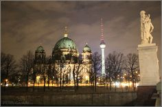 Berlin Cathedral and Alex - Domkirche on Museumsinsel near Schloss by night - Berlin Germany/Deutschland