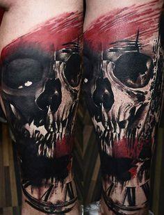 Abstract Skull Tattoo by Timur Lysenko | Tattoo No. 12676