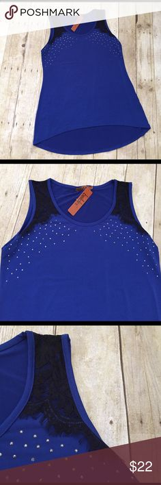 🎉HP🎉Belldini royal blue/black lace top NWT Med Just in Belldini NWT size Med black lace on shoulders and silver studs all over.  Longer in back tank.  Bust 17 inches length from shoulder is 25 inches in front 27 in back. Polyester and spandex. Belldini Tops Tank Tops