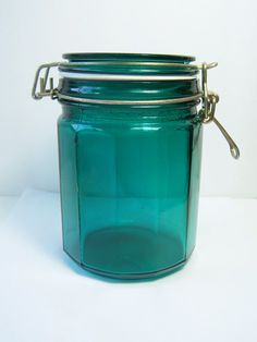 Hinged Glass Jar Decorative Blue Canister Vintage by WitsEndDesign