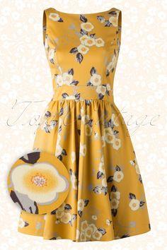 Lady V Tea Dress With Flowers Yellow 102 89 15468 20150611 018W2