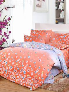 Orange pretty bedspread set