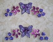 Suite of  Sequined Lavender Butterfly, Fuchsia Daisies and Purple Forget Me Nots- PAIR