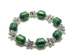 Bracelet Paper Bead Bracelet Olive Green Paper by PetuniasWhimsy
