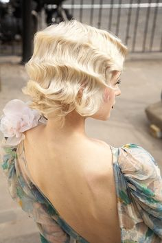 Pin curls. 20's style & beautiful with or without a headpiece.