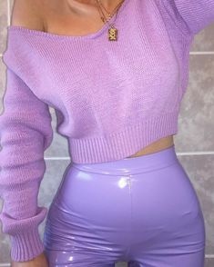 Fav colour forever & always! thank you for this new cosy knit. My vinyl leggings are also from a… Lila Outfits, Purple Outfits, Mode Outfits, Grunge Outfits, Trendy Outfits, Vinyl Outfits, Summer Outfits, Aesthetic Fashion, Look Fashion