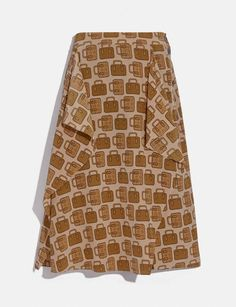 COACH: Bag Print Draped Midi Skirt Coach Store, Fit 30, Printed Bags, Hat Sizes, Textures Patterns, Timeless Fashion, Vintage Inspired, Midi Skirt, Silk